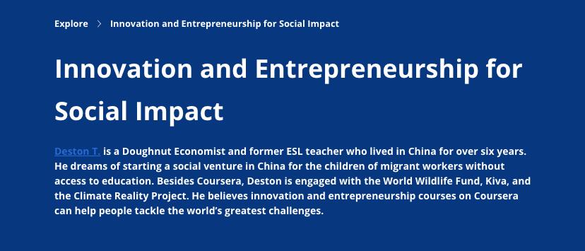 Innovation and Entrepreneurship for Social Impact