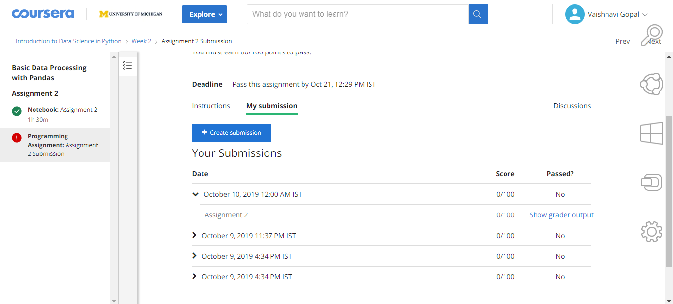 I Am Unable To Submit Assignment Coursera Community