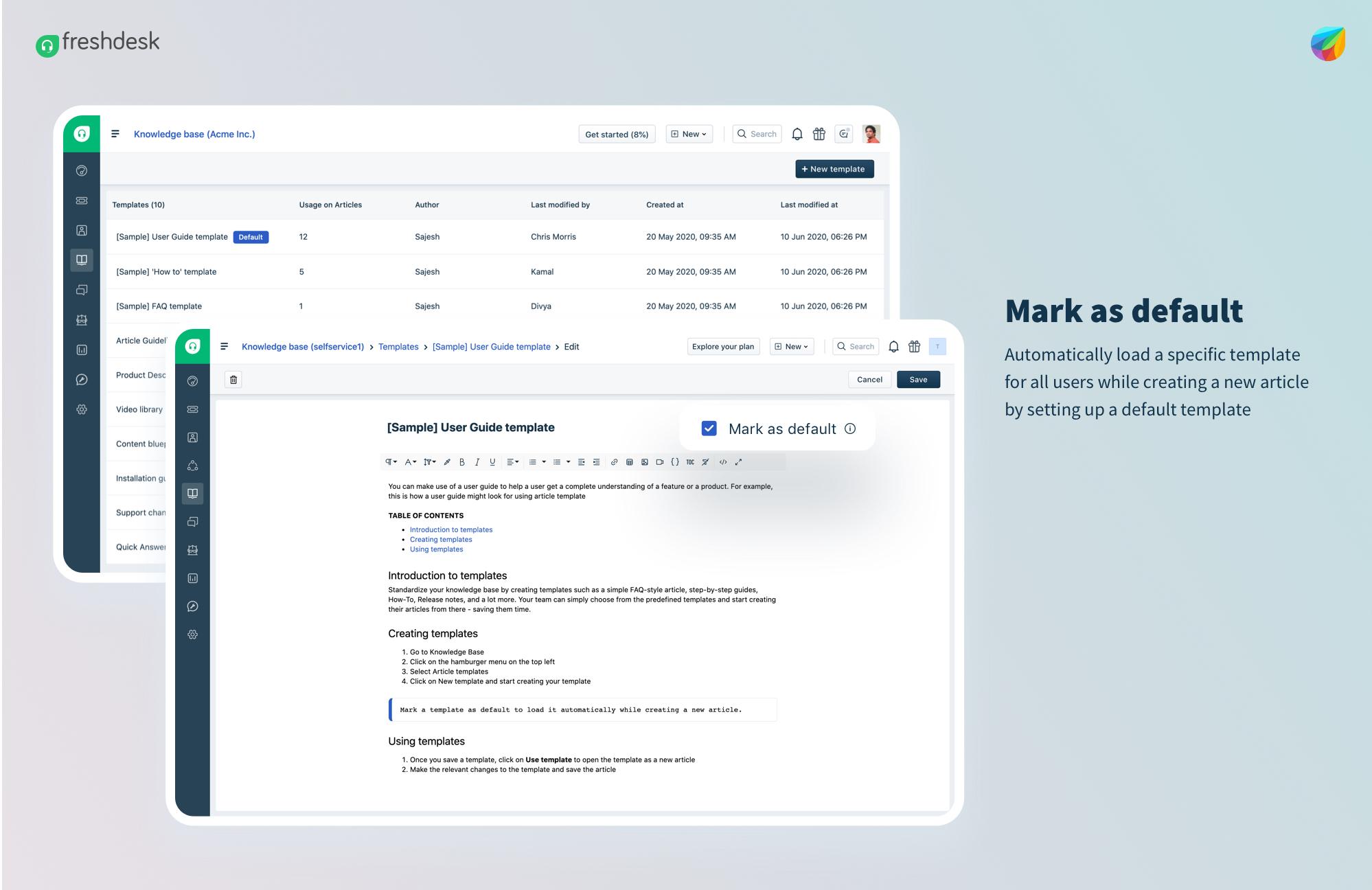Default Article Templates in Freshdesk