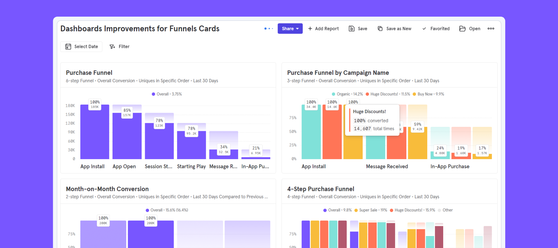 Dashboards - Segmented Funnel Cards and more!