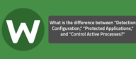 """What is the difference between """"Detection Configuration,"""" """"Protected Applications,"""" and """"Control Active Processes?"""""""