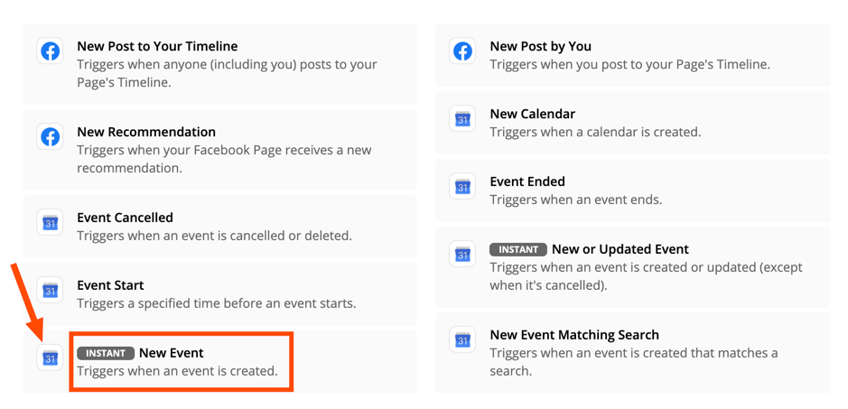 "Facebook ""New Event"" trigger 
